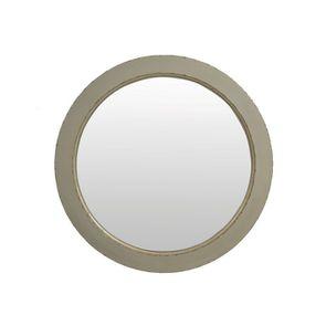Miroir rond gris fumé en bois