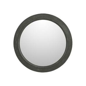 Miroir rond gris foncé en bois