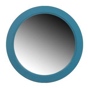 Grand miroir rond bleu turquoise en bois
