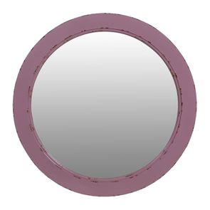 Miroir rond lilas en bois - Visuel n°1