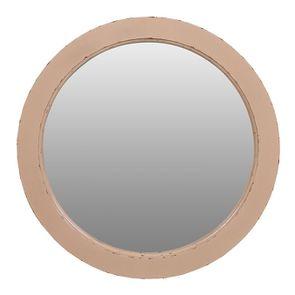Miroir rond rose poudré en bois