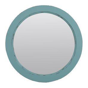 Miroir rond nuage de bleu en bois