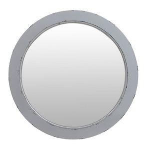 Miroir rond gris argenté en bois
