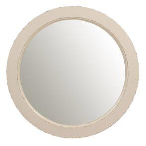 Miroir rond blanc nacré en bois D75 cm