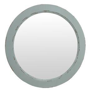 Miroir rond en bois vert sauge glossy