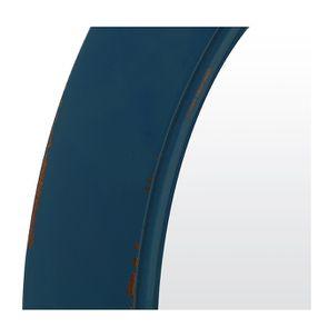 Grand miroir rond bleu saphir en bois