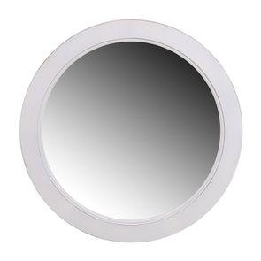 Miroir rond blanc patiné en bois