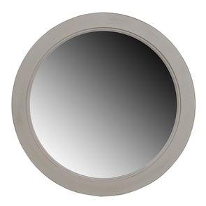 Miroir rond gris perle patiné en bois