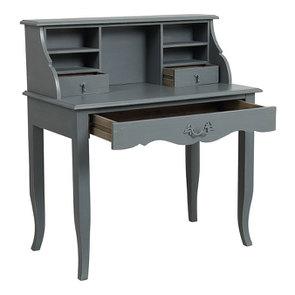 Secrétaire gris souris 3 tiroirs en pin - Visuel n°2