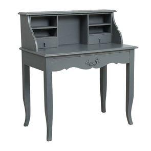 Secrétaire gris souris 3 tiroirs en pin - Visuel n°3