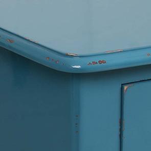 Grande commode bleue turquoise 4 tiroirs en pin - Visuel n°10