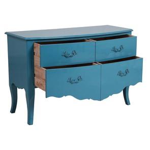 Grande commode bleue turquoise 4 tiroirs en pin - Visuel n°2