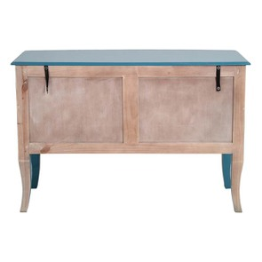 Grande commode bleue turquoise 4 tiroirs en pin - Visuel n°6