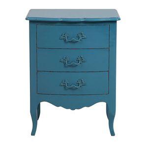 Petite commode 3 tiroirs en épicéa bleu turquoise L58 cm