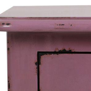 Petite commode 3 tiroirs en épicéa lilas et poignées en métal - Visuel n°8