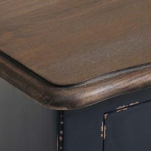 Petite commode bleu indigo 3 tiroirs en pin et plateau en frêne - Visuel n°9