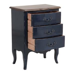 Petite commode bleu indigo 3 tiroirs en pin et plateau en frêne - Visuel n°2