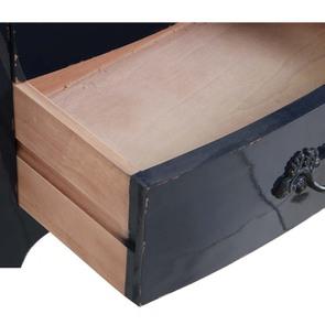 Petite commode bleu indigo 3 tiroirs en pin et plateau en frêne - Visuel n°3