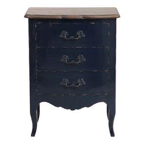 Petite commode bleu indigo 3 tiroirs en pin et plateau en frêne