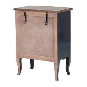 Petite commode bleu indigo 3 tiroirs en pin et plateau en frêne - Visuel n°5