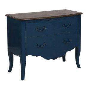 Commode 4 tiroirs en épicéa bleu saphir glossy - Visuel n°2