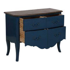 Commode 4 tiroirs en épicéa bleu saphir glossy - Visuel n°3