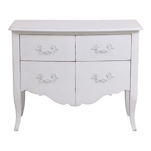 Commode 4 tiroirs blanc patiné