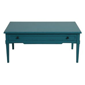 Table basse rectangulaire bleu turquoise