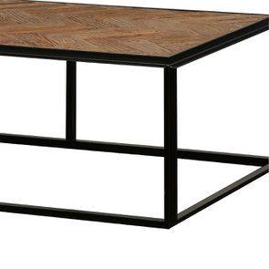Table basse rectangulaire industrielle en bois et acier - Haussmann