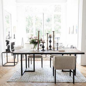Table rectangulaire industrielle en bois et acier - Haussmann