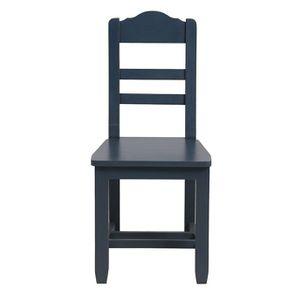 Chaise en pin massif bleu grisé vieilli - Brocante