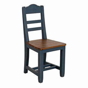 Chaise en pin massif bleu - Brocante - Visuel n°2