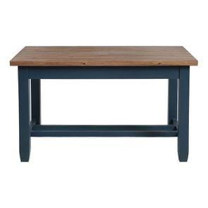Table à manger bleue en pin 4 à 6 personnes - Brocante