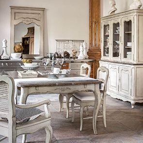 Chaise en tissu blanc cassé et pin massif - Château
