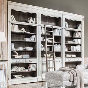 Set de finition pour bibliothèques modulables en pin blanc opaline vieilli - Château