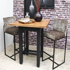 Table haute noire carrée en pin 2 à 4 personnes - Brocante