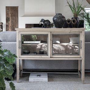Console 2 portes vitrées en bois massif – Initiale