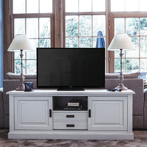 Meuble TV/Hifi blanc satiné – Rhode Island