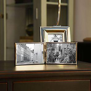 Cadre photo double en métal chromé