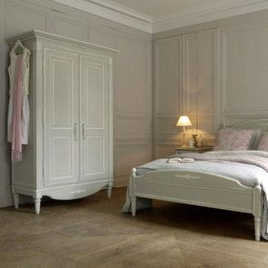 Armoire penderie grise 2 portes en bois - Gustavien