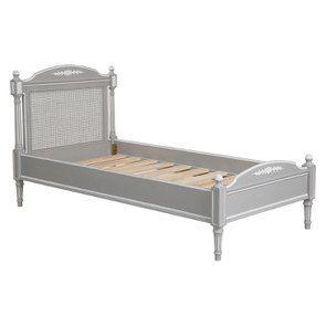 Lit enfant 90x190 en bois gris rechampis blanc - Gustavien - Visuel n°2