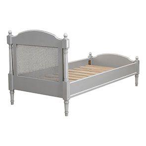 Lit enfant 90x190 en bois gris rechampis blanc - Gustavien - Visuel n°3