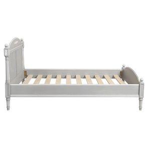 Lit 140x190 en bois gris rechampis blanc - Gustavien