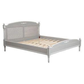 Lit 160x200 en bois gris rechampis blanc - Gustavien - Visuel n°3