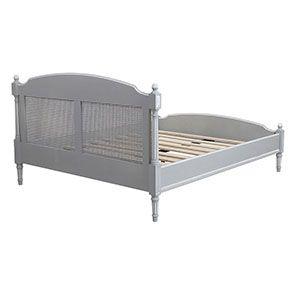 Lit 160x200 en bois gris rechampis blanc - Gustavien - Visuel n°5
