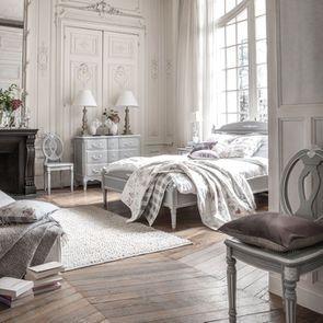 Lit 180x200 en bois gris rechampis blanc - Gustavien