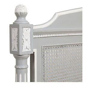 Lit 180x200 en bois gris rechampis blanc - Gustavien - Visuel n°5
