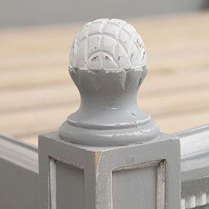Lit 180x200 en bois gris rechampis blanc - Gustavien - Visuel n°7