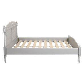 Lit 180x200 en bois gris rechampis blanc - Gustavien - Visuel n°1