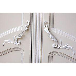 Armoire 2 portes en bois sable rechampis blanc - Lubéron - Visuel n°4